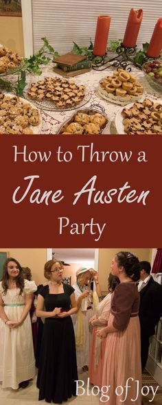 For future reference Hosting a Jane Austen Party (inspiration and pictures) Jane Austen Book Club, Emma Jane Austen, Jane Austen Quotes, Book Club Food, Regency Dress, Regency Era, Picture Blog, Host A Party, Pride And Prejudice