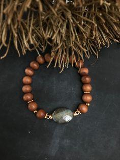 Sandelhouten armband stretch met craquelé agaat