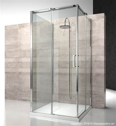 3-sided shower enclosure with fixed panel and two opening sides.| DA+DA+DG | @vismaravetro