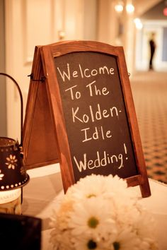 """Guest book table; using a chalkboard for the """"welcome"""""""