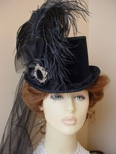 Victorian Ladies Tea Top Hat Black Velvet Gothic Steampunk Equestrian Riding | eBay