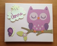 Pink Owl Personalised Canvas $25 www.sweetwatersmiles.com.au