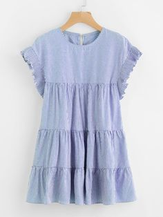 Shop Vertical Striped Tiered Peasant Frill Dress online. SheIn offers  Vertical Striped Tiered Peasant Frill cb9b77b94af