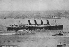 The Lusitania arriving in New York City circa 1907