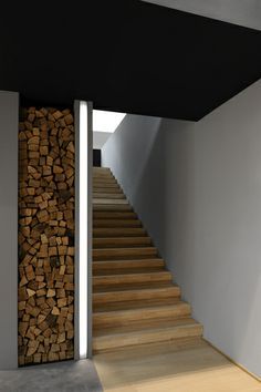 Stairs - wood, concrete and light//////www.dk/home DISCOUNT TO… Interior Stairs, Home Interior Design, Interior And Exterior, Interior Decorating, Stair Lighting, Interior Lighting, Architecture Details, Interior Architecture, Halls