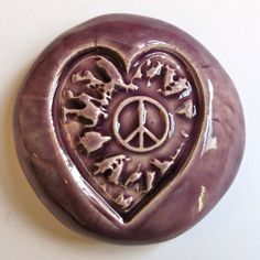 HEART with PEACE SIGN Pocket Stone  Ceramic  by InnerArtPeace, $6.00