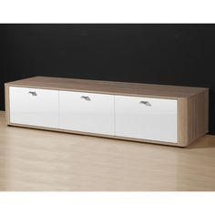 Monza Gloss White/Oak 3 Door TV Stand, 2136 157