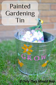 Painted Gardening Tin created with Martha Stewart paints