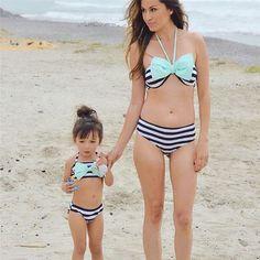 fcad6d7474 Family Swimwear Women Bikini Set Mother Kids Girls Two Pieces Big Bow  Stripe Swimsuit Beachwear Bathing Suits Bikini