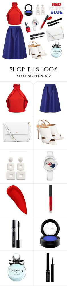 """What She was on the 4th of July"" by ravenclaw-phoenix on Polyvore featuring Alice + Olivia, Dorothy Perkins, Tory Burch, Kenneth Jay Lane, Tommy Hilfiger, NARS Cosmetics, Christian Dior, MAC Cosmetics, Kate Spade and Giorgio Armani"