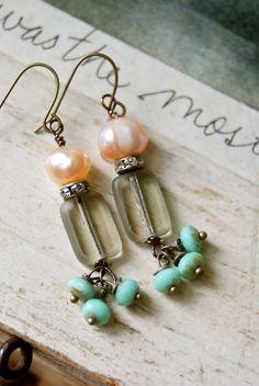 Sophie. pearlbeadeddangle earrings. by tiedupmemories on Etsy, $23.00