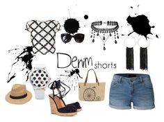 """""""Denim And Black And White"""" by missmackenzied ❤ liked on Polyvore featuring LE3NO, Lipsy, Bebe, Aquazzura, Chanel, Gottex, Straw Studios, jeanshorts, denimshorts and cutoffs"""
