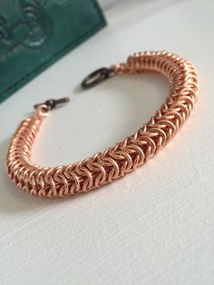 Copper Roundmaille Bracelet, Mens Chainmaille jewellery, Copper Bracelet for Men, male bracelet, Copper Jewelry, Copper Bracelet Gift by JCLeecollection on Etsy