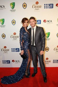 Michael and Kyly Clarke.  Allan Border Medal awards 2014