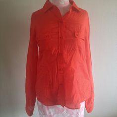Calvin Klein Lipstick Red Silk Cotton Sheer Button Down Long Sleeve Shirt Top S #CalvinKlein #ButtonDownShirt #Casual