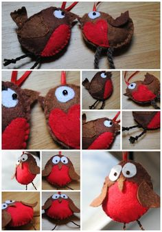 Christmas felt robin decorations