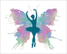 BALLERINA Butterfly Watercolor Art Print 5 by ImageDeSignStudio