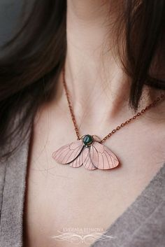 Moth handmade copper pendant. Green agate cabochon https://www.etsy.com/ru/listing/507185153/moth-butterfly-copper-pendant-necklace