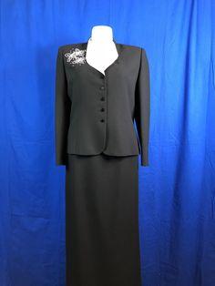 Kasper ASL Black w/ White 2 PC Blazer/Jacket Suit Sz 18