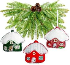 """Snowy Cottage Christmas Ornaments 3"""" Paper Sewing Pattern"""