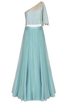 Frost blue sequinned cape top with tulle skirt available only at Pernia's Pop Up Shop.