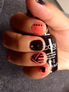 Coral & Black Nails for Alexis | Fun Nails - Summer nails - lines - diamonds - abstract