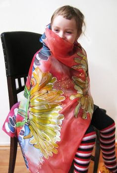 Hand painted silk scarf  Dandelion by dagamara on Etsy, $62.00