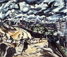 """spacytigre: """" Apocalyptic Landscape - Ludwig Meidner This piece is amazing…in true Expressionist style, he uses his own emotions to evoke a reaction from the viewer. While this painting pre-dated WWI by one year, it is an eerie precursor of the. Ludwig Meidner, Chaim Soutine, Jewish Art, Magazine Art, Large Art, Art Museum, Modern Art, German, Paintings"""