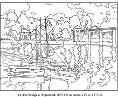 FREE coloring page from Dover, The Bridge From Argenteuil