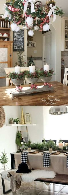 Farmhouse Christmas kitchen: 100 Best Christmas decorating ideas organized by rooms! How to create beautiful Christmas entryway living room kitchen bedroom staircase & more! A Piece of Rainbow Farmhouse Christmas Kitchen, Christmas Entryway, Noel Christmas, Rustic Christmas, All Things Christmas, Christmas Crafts, Christmas Lights, Kitchen Rustic, Christmas Ideas