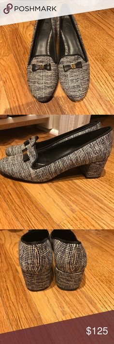 Tory Burch Tweed Loafers Adorable and super chic Tory Burch tweed loafers in navy/white/black. HARD TO FIND! Wish my feet still fit in them! In excellent condition. Worn once! Some strings are loose and soles have a little wear but overall excellent! Tory Burch Shoes Flats & Loafers