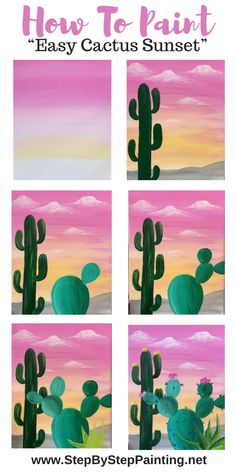 "Easy Cactus Painting ""Desert Golden Hour"" - Step By Step Painting Simple Canvas Paintings, Easy Canvas Art, Small Canvas Art, Easy Canvas Painting, Mini Canvas Art, Cute Paintings, Diy Painting, Drawing On Canvas, Sunset Acrylic Painting"