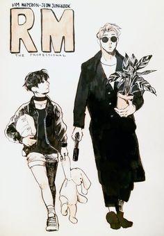 M the Professional (Leon the Professional AU) Jikook, Bts Jungkook, Namjoon, Kpop Drawings, Bts Chibi, Bts Fans, Kpop Fanart, Bts Members, K Pop