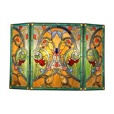 This Tiffany style Victorian design fireplace screen contains over 360 hand-cut pieces of art glass that will add color and warmth to any room. Lend an artistic, inviting element to your home decor with this beautiful handcrafted fireplace screen. Victorian Fireplace Screens, Stained Glass Fireplace Screen, Metal Fireplace, Concrete Fireplace, Marble Fireplaces, Stained Glass Art, Stained Glass Windows, Mosaic Glass, Leaded Glass