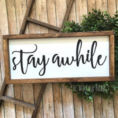 Stay Awhile Entry Decor Guest Bedroom Sign Farmhouse