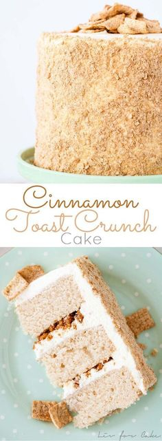 Your favorite cereal in cake form! Cinnamon cake, cream cheese frosting, and Cinnamon Toast Crunch crumble.   http://livforcake.com
