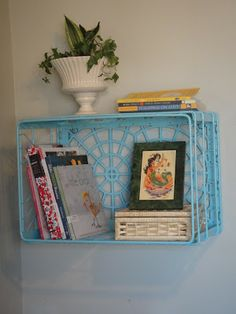 Milk Crate wall storage... need to do something like this for above the record player!