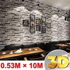 10M Brick Stone Effect 3D Wallpaper Wall Sticker Paper Roll Home Art Decor Decal