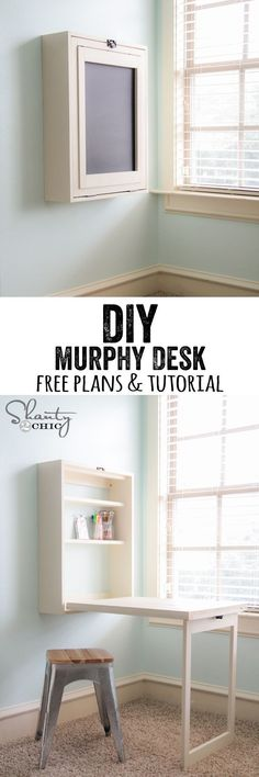 DIY Murphy Desk Tutorial and Free Plans from Shanty 2 Chic.This DIY Murphy Desk is supposed to be an easy build. It's also practical because the Murphy Desk can fit in tiny spaces, and when folded up it has a chalkboard. Murphy Desk, Murphy Table, Murphy Bar, Diy Murphy Bed, Ideas Paso A Paso, Diy Home Decor, Room Decor, Wall Decor, Wall Art