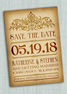 Vintage Style Save the Date Printable Card  by firstfrostdesigns, $12.00