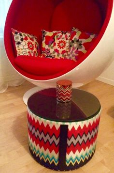 white and red details eero aarnio ball chair works so great with missoni home