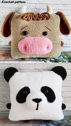 Crochet Cushion Cover, Crochet Pillow Pattern, Crochet Cushions, Crochet Toys Patterns, Stuffed Toys Patterns, Crochet Cow, Crochet Gifts, Crochet Projects, Pillows