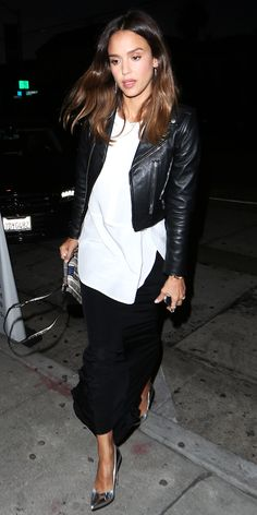 Jessica Alba Toughens Up an Elegant Dinner Look with a Leather Moto Jacket from InStyle.com