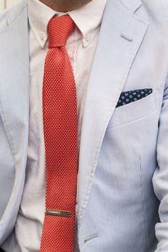 Coral Knit Necktie + Seersucker