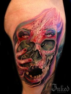 Interesting photo realistic piece by Ron Russo #InkedMagazine #skull #ladyhead #hand #tattoo #tattoos #realistic #ink