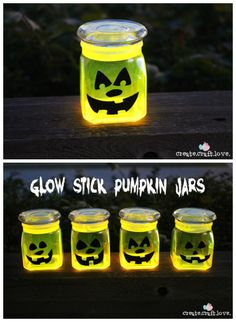#Halloween : How to do Glow in the Dark Pumpkin Jars... I love this idea for Halloween Night! createcraftlove.com