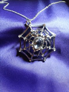 necklace silver spider in web pendant on chain by SkisterCraft on Etsy