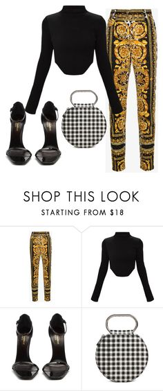 """versace"" by nnstylexo ❤ liked on Polyvore featuring Versace, Yves Saint Laurent and Forever 21"