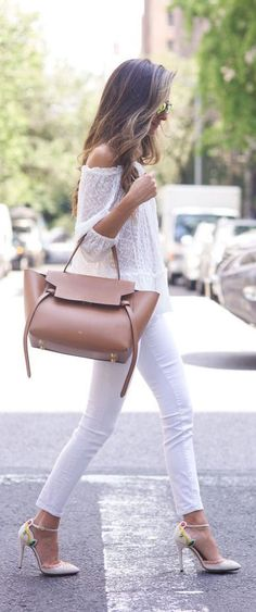 Team your white top with white jeans and let the bag and shoes do the talking. Via Arielle Nachami Jeans: Rag & Bone, Top: Rebecca Taylor, Shoes: Charlotte Olympia, Bag: Celine, Sunglasses: Westward Leaning. Off the Shoulder Top Outfit Style Work, Mode Style, White Summer Outfits, Spring Outfits, Outfit Summer, Street Style Outfits, Casual Outfits, Street Style Inspiration, Style Ideas