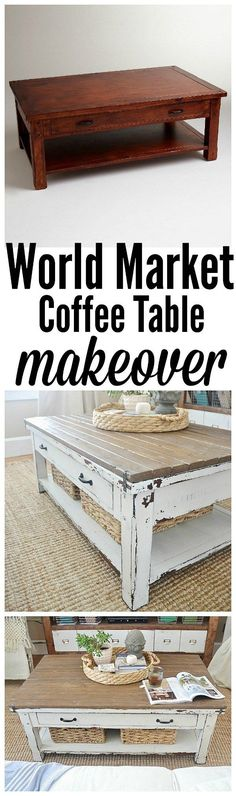 World Market coffee Table makeover - with some boards & paint create a custom coffee table to fit your style!